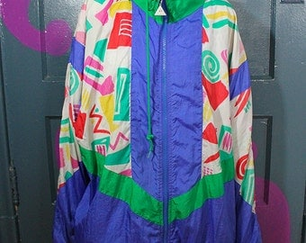 Neon Abstract 90s Casual Isle Windbreaker