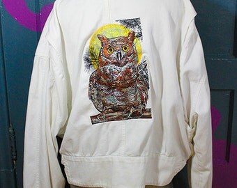 Members Only Style Embroidered Owl Jacket