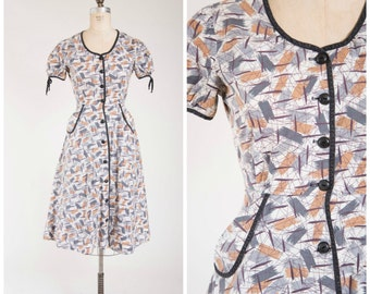 Vintage 1950s Dress • Atomic Age • Brown Grey Printed 50s Vintage Cotton Dress with Full Skirt Size Small