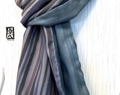 Mens Gift, Silk Scarf Men, Gift for men, Reversible Mens Silk Scarf Handpainted, Winter Scarf, Green Gray Zen Stripes Scarf, 14x72 in.