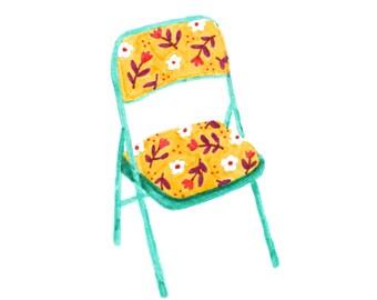 Floral Folding Chair Art Print - 5x7, 8x10, 11x14