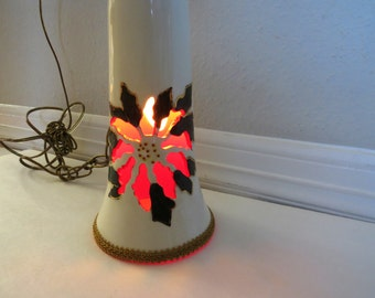 Vintage 1960s Christmas Hanging Lamp - Red Poinsettia Cut Out - Plug In Chandelier Light - Holiday Decor - Retro Christmas Decoration