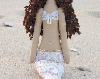 Rag doll Mermaid doll white pink paisley fabric doll brunette cloth doll art doll handmade doll nursery decor baby shower room decor doll