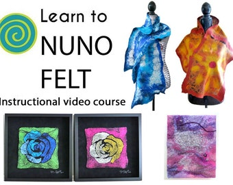 Learn To Nuno Felt, Felting Course, Nuno Felting, Learn Nuno Felting, Craft Class, Mother's Day Gift Idea, Felting, Craft Class, Silk, Felt
