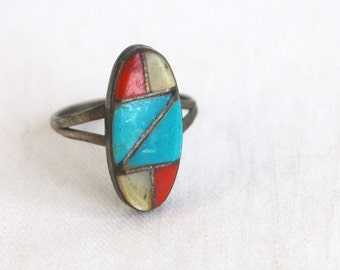 Vintage Southwest Ring Size 6 Inlaid Turquoise Red Coral Mother of Pearl Vintage Rustic Boho Jewelry