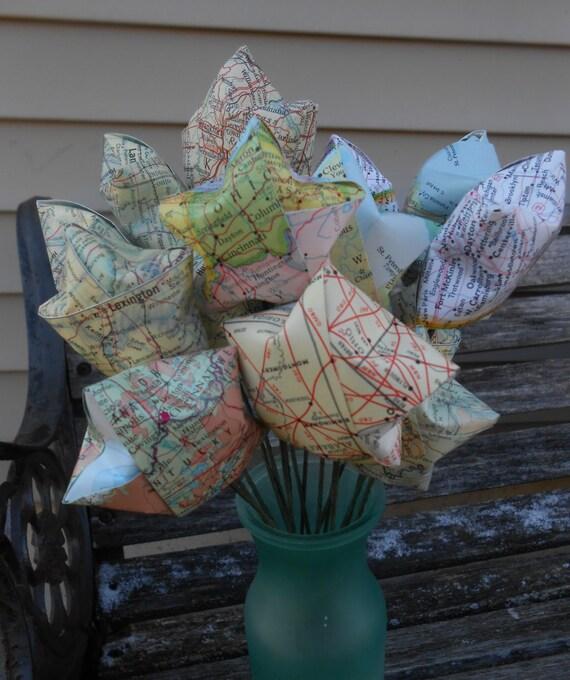 Custom MAP Star Bouquet. CHOOSE Your MAPS!!! Anniversary, Birthday, Valentine, Wedding Gift. Custom Orders Welcome.