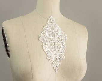 White Venise Lace Sequin Beaded Venice Lace Diamond Organza Applique Collar / Venetian Lace / Bridal / Lingerie / Also in Black