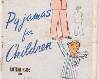 Weldon's So-Easy Sewing Pattern, Pyjamas for Children, 1940s