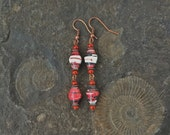 Red, black, and white Paper bead earrings ~ one of a kind jewelry