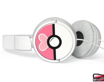 Personalized gift for her Valentine's gift Pokeball headphones custom Pokemon gift for girlfriend unique girl gamer earphones Loveball heart