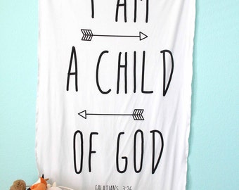I Am A Child of God Scripture Blanket, Cuddle Swaddle-double layered jersey-Lightweight, Baby Girl or Boy, Bible verse, Life verse, Psalm