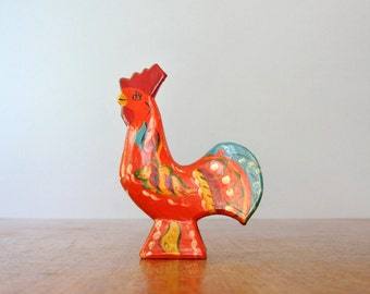 Vintage Mid Century Orange Swedish Dala Rooster