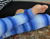 Yoga/Dancer's legwarmers - hand kranked and finished - Shades of blue. . 90cm one size fits all