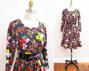 Vintage 1960s Dress | Polka Dot Floral Print 1960s MIni Dress | size medium