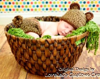 Bear hat, bear ears hat and diaper cover set, available in multiple sizes. Made to order.