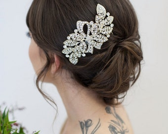 Silver Crystal Hair Piece, Bridal Hair Comb, Bridal Hair Clip, Wedding Headpiece, Crystal Rhinestone Bridal Hair Accessories - Ready to Ship