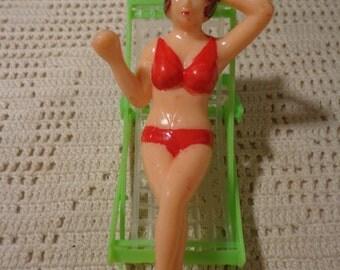 Vintage Cake Topper Lounging Lady In Bikini
