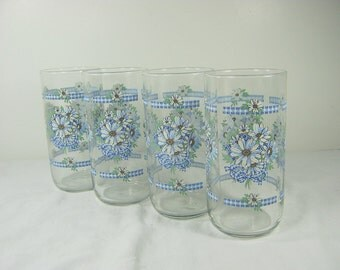 Vintage DAISY & GINGHAM TUMBLER Set/4 Blue White Daisies Floral Glass Flower