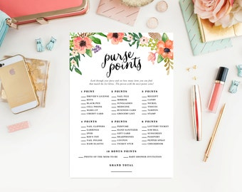 Instant Download - Boho Purse Points Game Cards