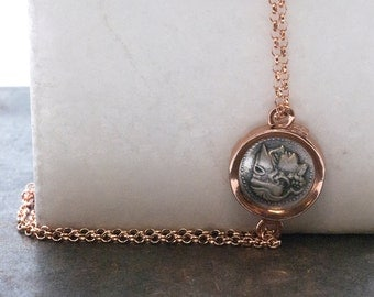 Greek Coin Rose Gold Bracelet, King Alexander the Great Ancient Silver Coin,  Delicate Gold Statement Bracelet, Coin Jewelry, Greek Jewelry