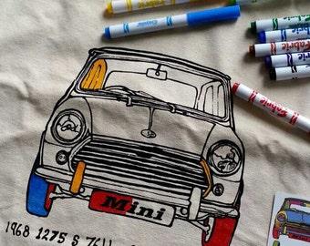 DIY coloring in canvas tote bag - Mini Cooper