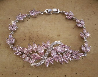 Blush Pink CZ Bracelet, Bridal Jewelry, Statement Bracelet,  Pink Cubic Zirconia Wedding Bracelet,  Wedding Jewelry, Prom Bracelet,