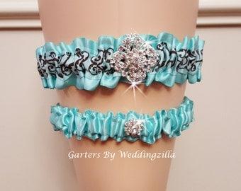 Aqua Wedding Garter Set/ Damask Garter Set/  Aqua Bridal Garter/ Wedding Garter Belt, Aqua Damask Wedding Garter
