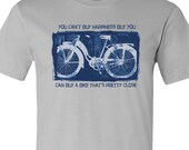 Bicycle T-Shirt-You Can't Buy Happiness-Funny Bike shirt in Light Grey-Mountain Bike Road Bike Gift