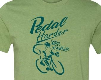 Bicycle T-shirt-Road Bike T-shirt,Heather Green-PEDAL HARDER-cycling shirt, gifts for cyclists, men's bike gift,guy gift, velo tee