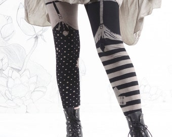 Pirate Girl Leggings , garter legging - thigh high tights, striped leggings, womens pants, bottoms,  carousel ink