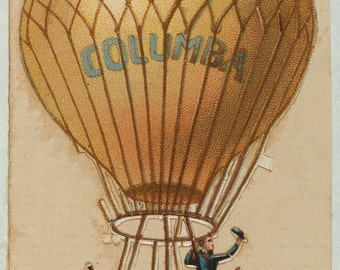 Hot Air Balloon Vintage illustration , digital download