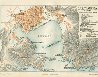 Cartagena and Environs Vintage Map Spain