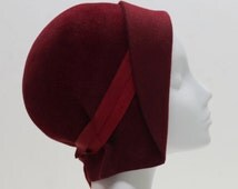Red Felt Cloche Hat w/ Ribbon Accent - Jeanne