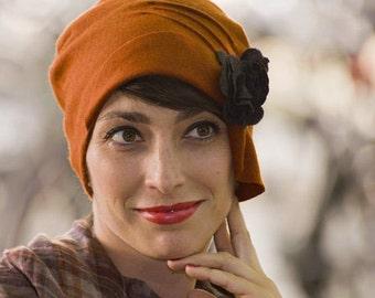 1920s Hat - Burnt Orange Cloche  -  Cashmere Hat - Karine