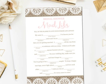 Burlap and Lace Bridal Shower Mad Libs Game, Bridal Shower Games Printable Rustic Burlap Bridal Shower Mad Libs Instant Download BR10