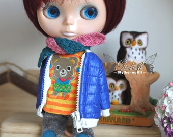 Girlish - Blue Down Jacket Set for Blythe doll - dress / outfit