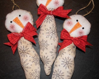 Primitive Whimsical Country Christmas ICICLE SNOWMAN Ornies Tucks Bowl Fillers