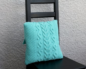 Knitted cable pillow case, decorative pillow, cable knitted pillow cover, cable knit cushion in mint color