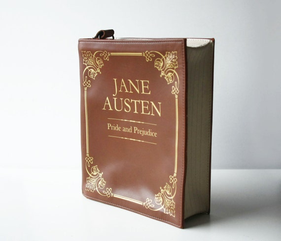 Satchel with a cover designed to look like a Jane Austen book,