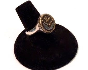 Antique Button Ring Sterling Silver
