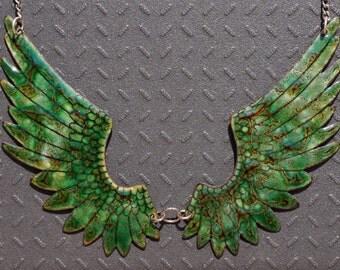 Green wing enamel necklace