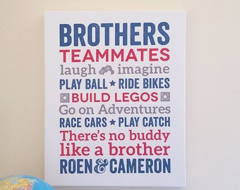 Brothers CANVAS Brothers Wall Art Boy Room Decor Brother Quotes Big Brother Little Brother Brothers Sign Wall Decor