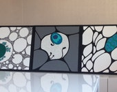 RESERVED Contemporary art with SWAROVSKI® with peaock elements by Lydia Gee