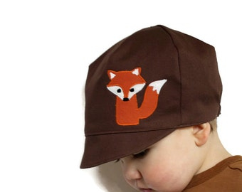 Wee Dee Kids Organic Fox Hat, Baby Fox Hat, Organic Brown Cotton Reversible,  Boys Fox ,  Toddler or Child Kid Hat,  L