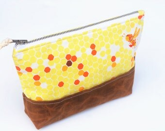 Bee Zipper Pouch, Makeup Bag, Metal Zipper Pouch with Waxed Canvas Base, Honeycomb Print