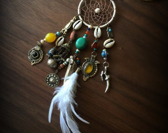 Tribal Dream Catcher Necklace Tribal Necklace with Dangles Tribal Assemblage Necklace Bone Feather Sea Shell Boho Necklace Native American