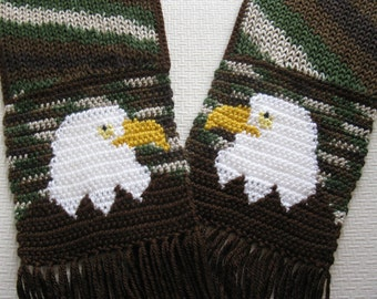 American Eagle Scarf. Green camouflage knit scarf with America bald eagles.  Scarf with birds.