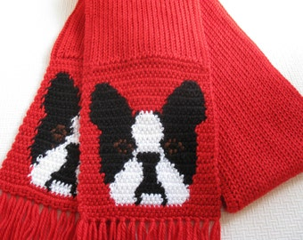Boston Terrier Scarf. Red crochet and knit scarf with Boston dogs. Knitted dog scarf.