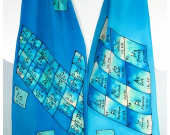 "Handpainted silk scarf. Periodic Table Silk Scarf. Hand painted silk scarves. turquoise silk scarf. 8""x52"". silk scarf handpainted"