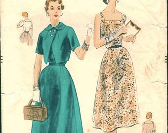 Great Vintage 1950s Vogue 8166 Sleeveless Dress and Bolero Jacket Sewing Pattern B34